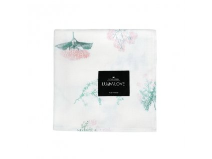 Zavinovací přikrývka z mušelínu plena 100 x 100cm Luční kvítí růžové