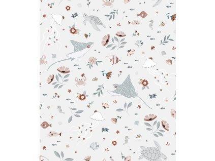 h0604 papier peint ocean fleurs tortue