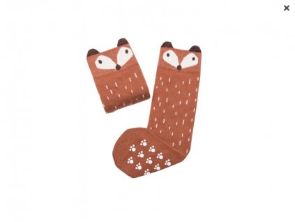 Screenshot 2020 09 24 Mama's Feet Dětské podkolenky s liškou Crazy Animals Ginger Fox hnědé Eliwood cz