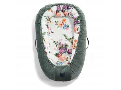 Luxusní hnízdo pro miminko La Millou Velvet collection Khaki & Paradise
