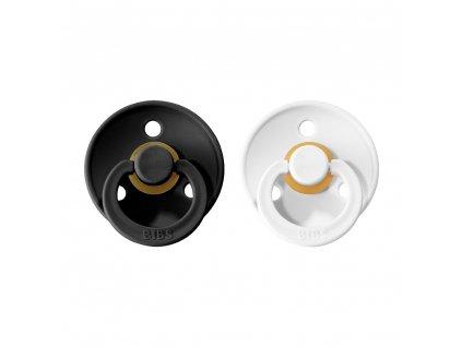 BIBS Colour dudlíky z přírodního kaučuku 2ks Black/White- VELIKOST 1