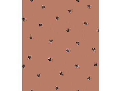 h0625 papier peint coeurs noir terracotta