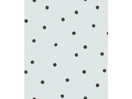 h0612 papier peint pois noir turquoise