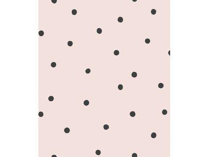 h0613 papier peint pois noir rose pale