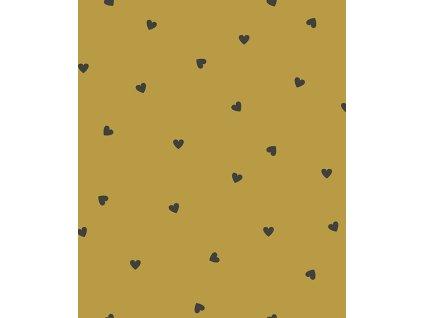 h0622 papier peint coeurs noir moutarde