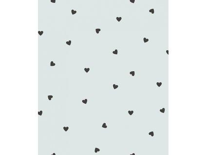 h0623 papier peint coeurs noir turquoise