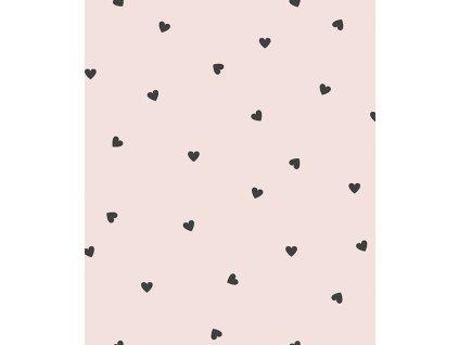 h0624 papier peint coeurs noir rose pale
