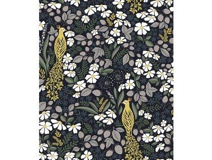 h0605 papier peint floral deco paon lilipinso