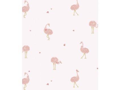 h599 papier peint rose fille autruches lilipinso
