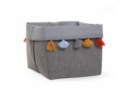 """Úložný box CHILDHOME Dark grey s barevnými třásněmi vysoký """"M"""""""