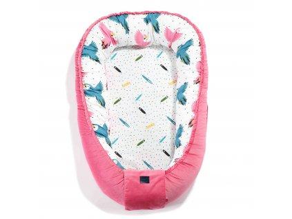Luxusní hnízdo pro miminko La Millou Velvet collection Florida pink & Candy parrot