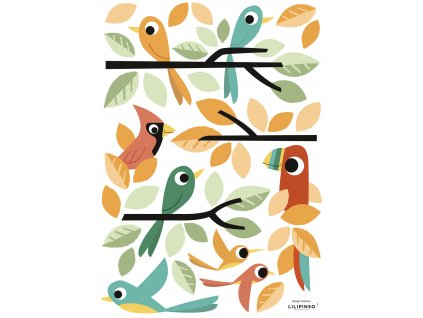 Samolepka LILIPINSO Coloured birds A3