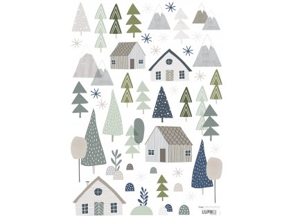 Samolepka LILIPINSO Trees and cottages A3