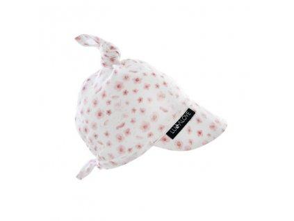 Šátek na hlavu z mušelínu Růžové květinky