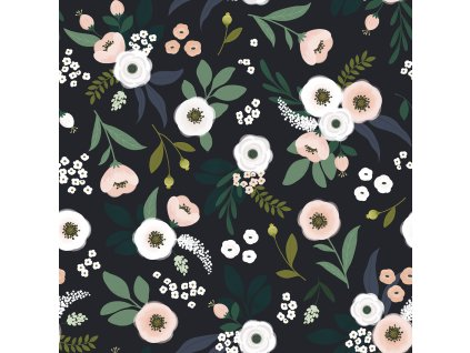 Tapeta LILIPINSO Flowers on dark backround 50 cm x 10 m