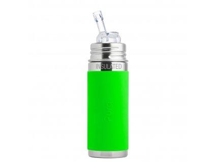 Nerezová TERMO lahev Pura s brčkem 260 ml zelená