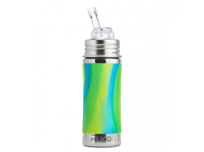 Nerezová lahev PURA s brčkem 325 ml zeleno-modrá