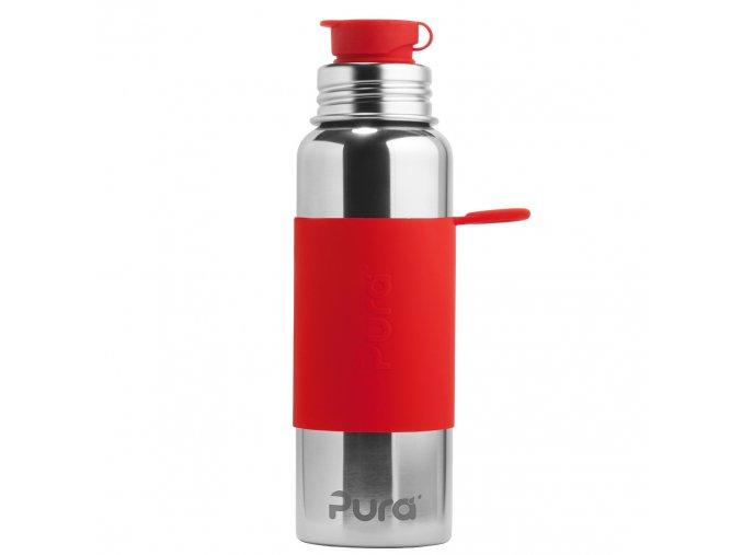 Nerezová lahev PURA se sportovním uzávěrem 850 ml červená