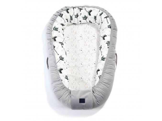 Luxusní hnízdo pro miminko La Millou Velvet collection Dark Grey & Boho royal drops