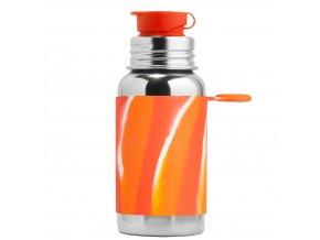 Nerezová lahev PURA se sportovním uzávěrem 550 ml oranžovo-bílá