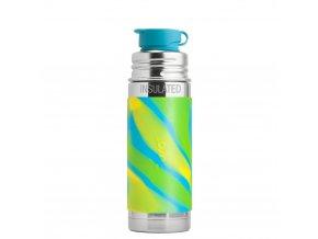 Nerezová TERMO lahev Pura se sportovním uzávěrem 260 ml zeleno-modrá
