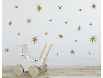 Samolepky na zeď - hvězdy mix 3,5,7 cm