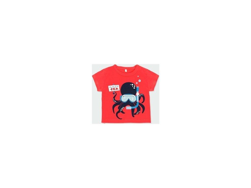Červené chlapecké tričko s chobotnicí Boboli