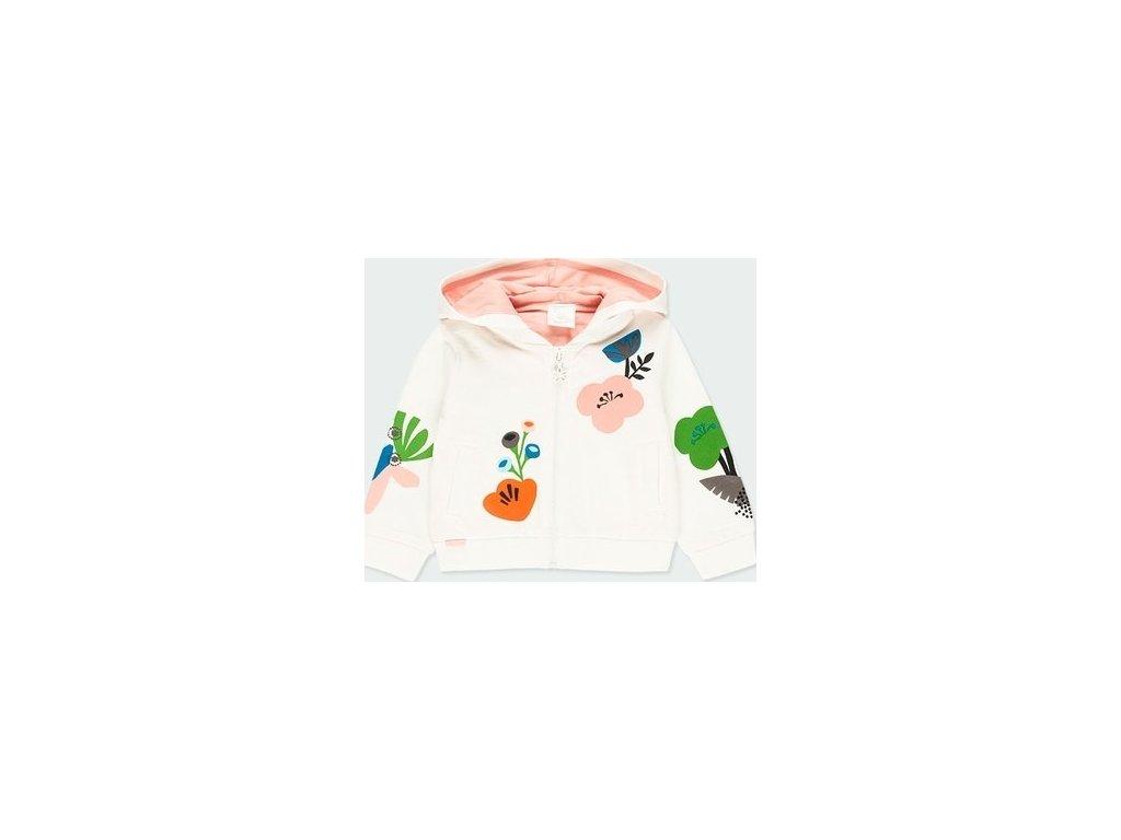 Dívčí flísová mikina s barevnými květy Boboli