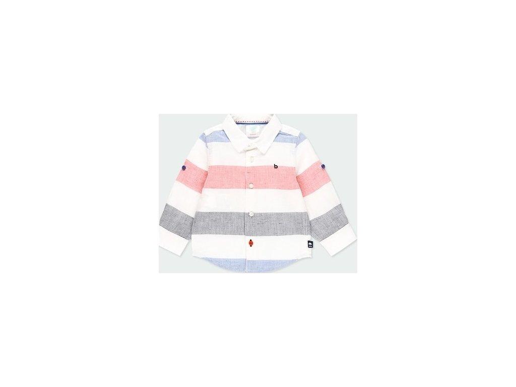Pruhovaná lněná košile s dlouhým rukávem Boboli