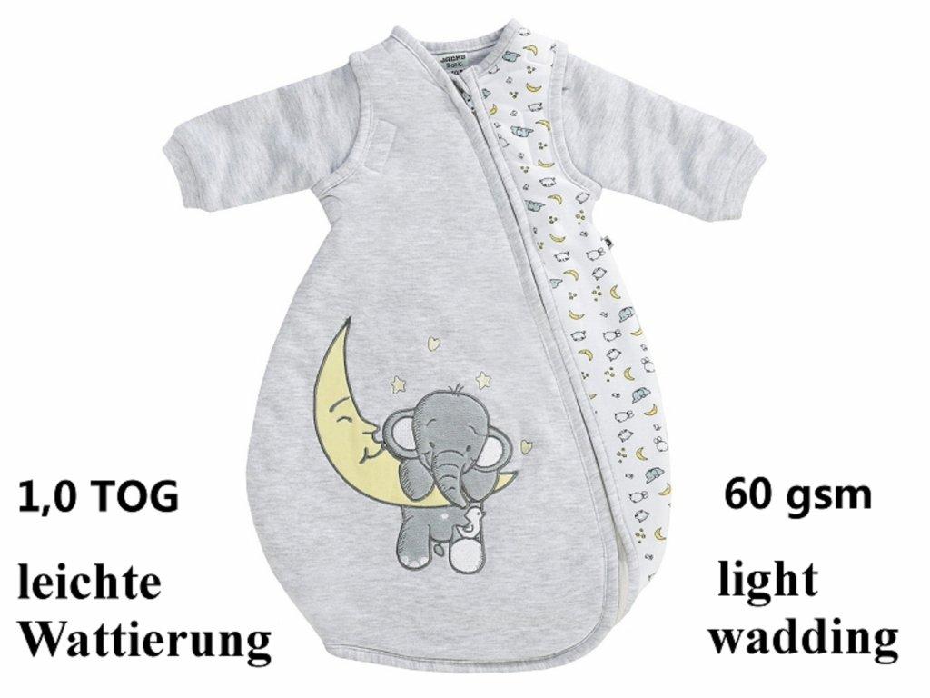 Šedý spací spací pytel se slonem