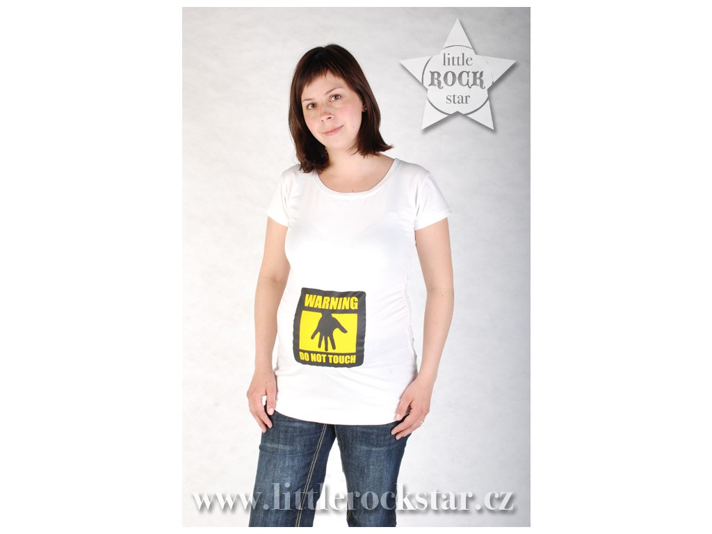 WARNING: DO NOT TOUCH (těhotenské triko bílé)