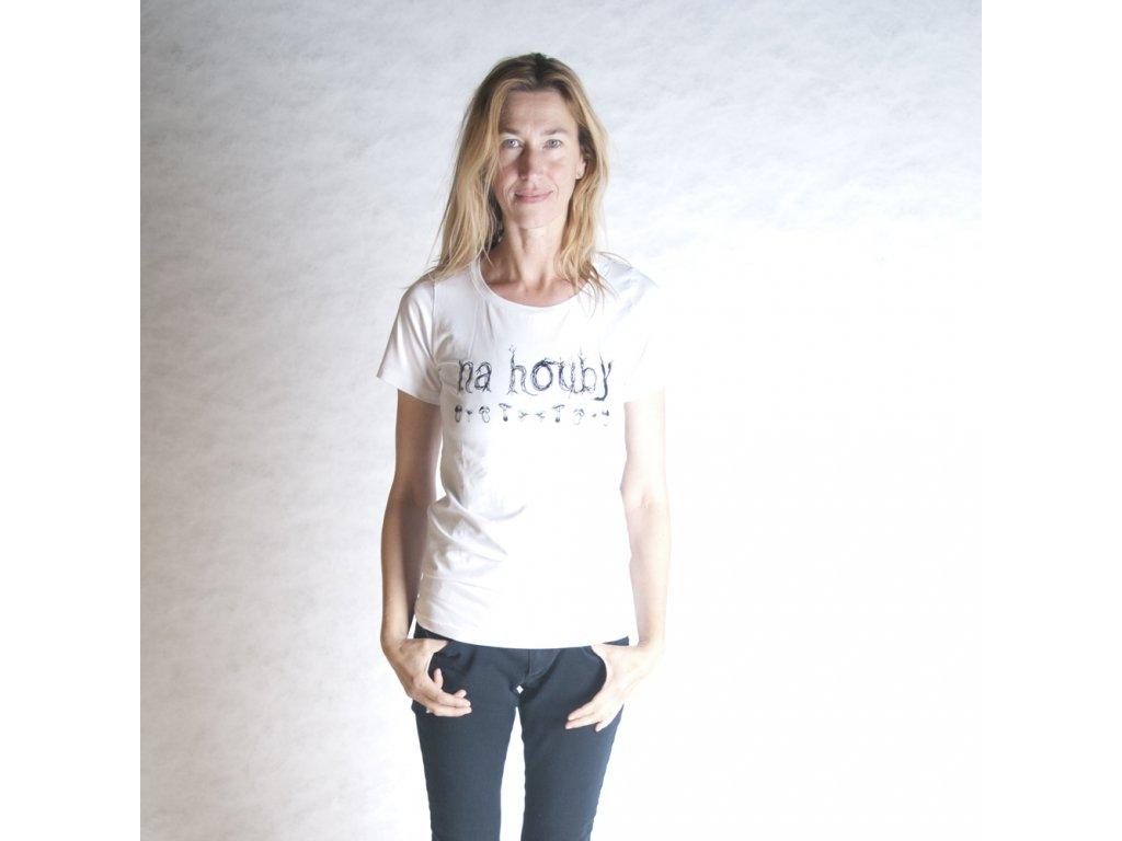 NA HOUBY (triko dámské bílé KR)