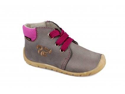 boty Fare 5021251 šedé s fialovou tkaničkou (bare)