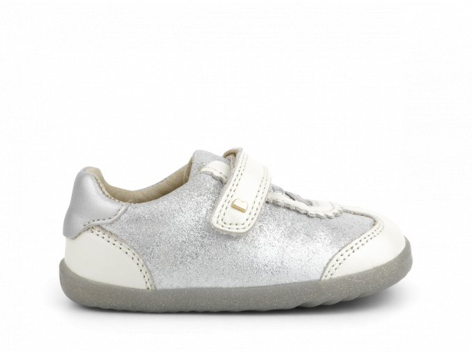 boty Bobux Sprite White Pearl + Silver Step Up