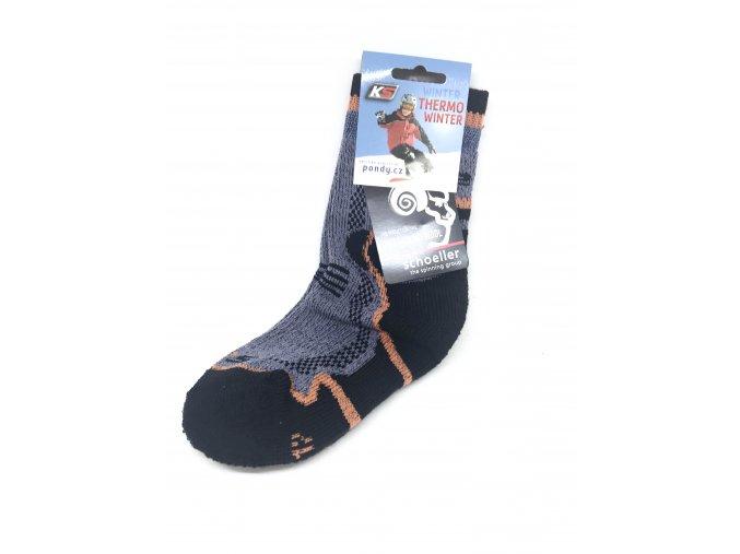 funkční ponožky Winter merino wool šedé s oranžovou, vel. 32-35