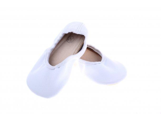 kožné barefootové gymnastické cvičky bílé
