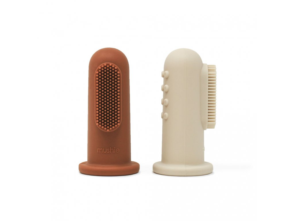 Mushie silikonova zubna kefka na prst 2ks Clay+ShiftingSand