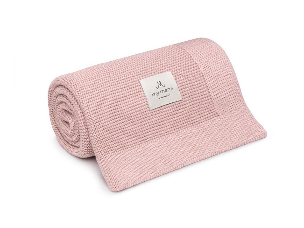 bambusowy kocyk powder pink 80x100 classic bamboo blanket 80x100 powder pink classic