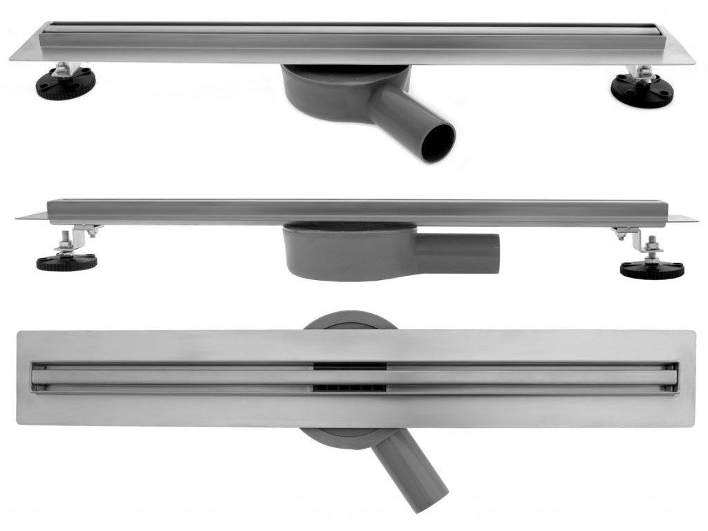 REA - Lineární odtokový žlab + sifon + nožičky + rošt Neo 600 Slim