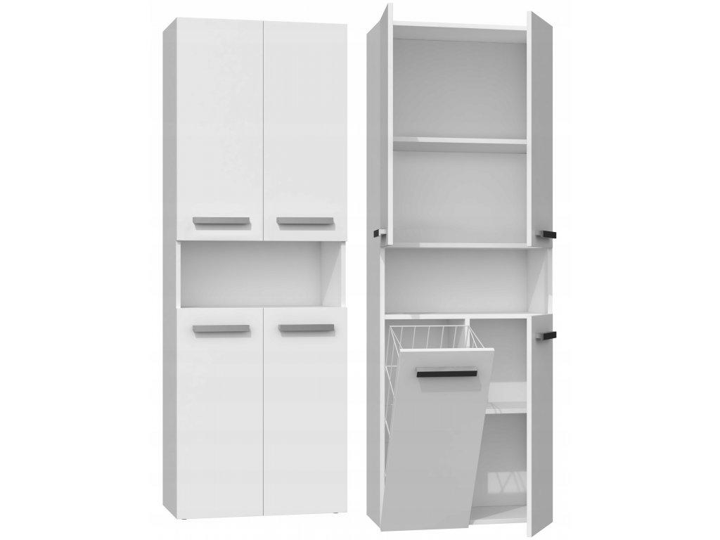 NEL DK 1K vysoká skříňka s košem, bílá 60x30x174 cm