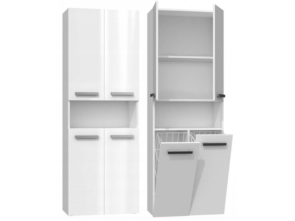 NEL DK 2K vysoká skříňka s košem, bílá lesk 60x30x174 cm