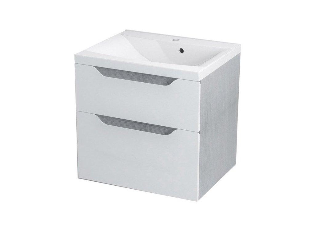 WAVE umyvadlová skříňka 60x65x47,8cm, bílá/dub stříbrný