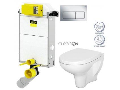 VIEGA Presvista modul PURE pro WC včetně tlačítka Life5 CHROM + WC CERSANIT ARTECO CLEANON + SEDÁTKO V771928 LIFE5CR AT1