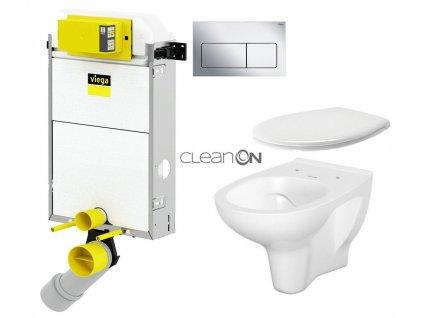 VIEGA Presvista modul PURE pro WC včetně tlačítka Life5 CHROM + WC CERSANIT ARTECO CLEANON + SEDÁTKO V771928 LIFE5CR AT2