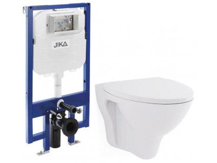 JIKA - předstěnový instalační 8 cm systém bez tlačítka + WC CERSANIT ARES + SEDÁTKO (H894652 X AR1)