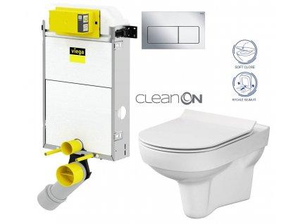 VIEGA Presvista modul PURE pro WC včetně tlačítka Life5 CHROM + WC CERSANIT CITY NEW CLEANON + WC SEDÁTKO SLIM V771928 LIFE5CR CI2