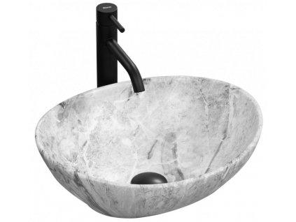 REA - Umyvadlo na desku Sofia 41x34,5 Stone Marble