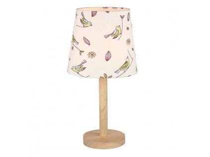 Stolní lampa, dřevo / látka vzor ptáci, QENNY TYP 7