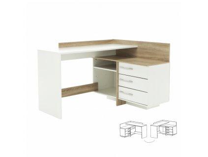 PC stůl, univerzální, dub sonoma / bílá, TALE 484881