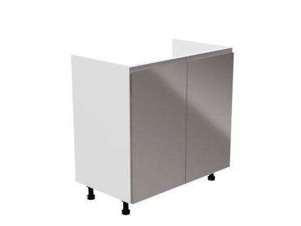 Dřezová skříňka, bílá / šedá extra vysoký lesk, AURORA D80Z